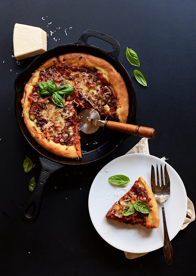 Deep dish pizza on a plate