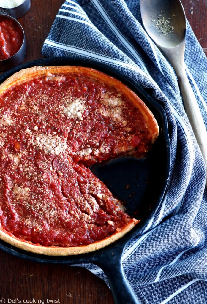 Deep dish pizza in a pan