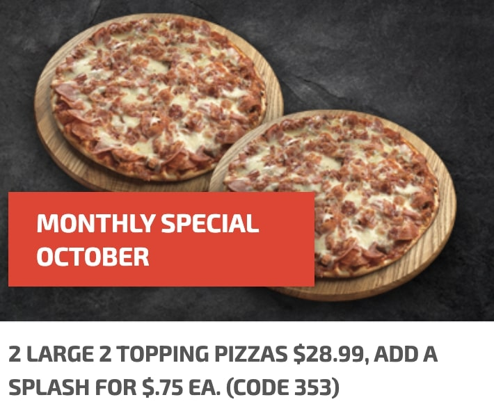 Chanticlear Pizza October Special